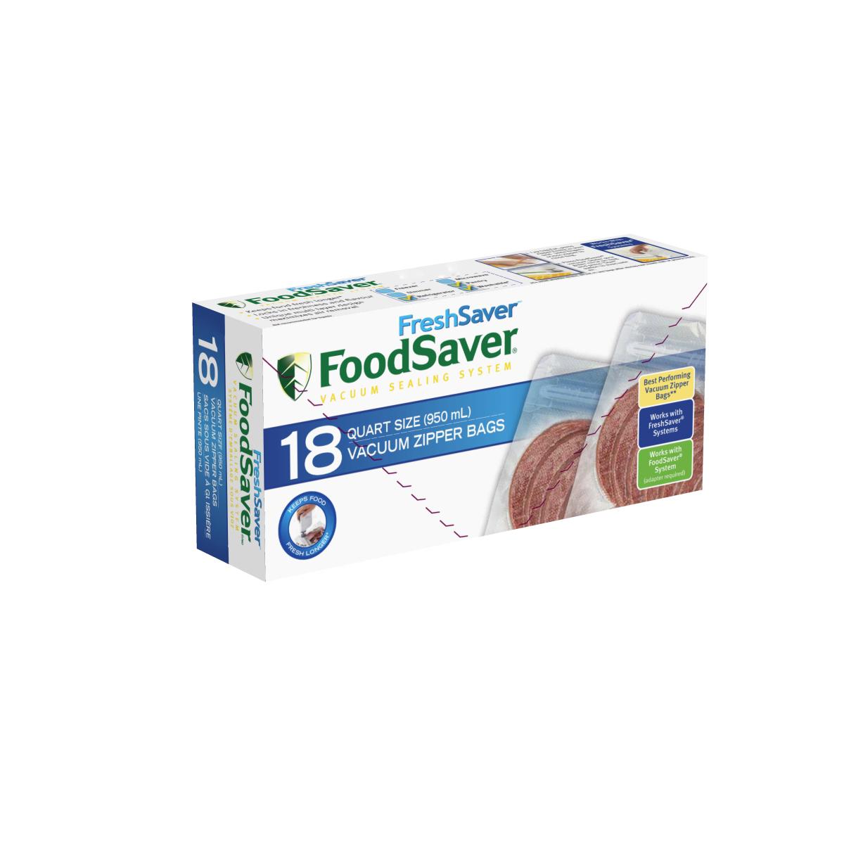 foodsaver freshsaver quart size zipper vacuum sealer bags 18 count - Vacuum Sealer Bags